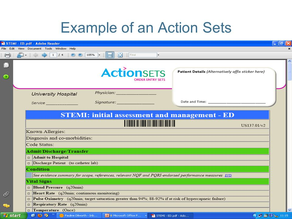 Example of an Action Sets