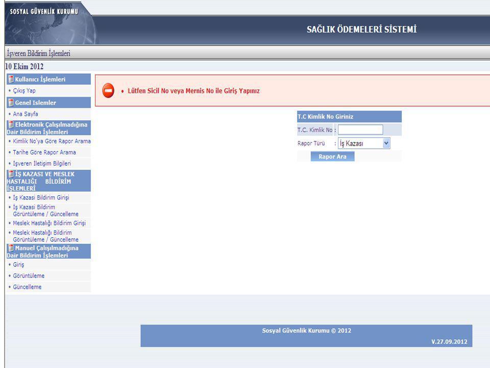 İşvereni bulunduğunuz 2-8559-01-01-1064245-55-null-67-000 sicil sayılı dosyada işlem gören işyerinizde çalışmakta olan 30745041914 TC kimlik numaralı DERYA YILMAZ ın 10553001 hastanesince\sağlık tesisince düzenlenen null başhekim onay tarihli istirahat raporu ünitemize intikal etmiş olup, 2012- 11-24/2013-01-07 tarihleri arasında istirahatli olan sigortalının rapor tarihini takip eden 5 iş günü içinde çalışılmadığına dair bildirim girişinin tarafınızca yapılmadığı tespit edilmiştir.