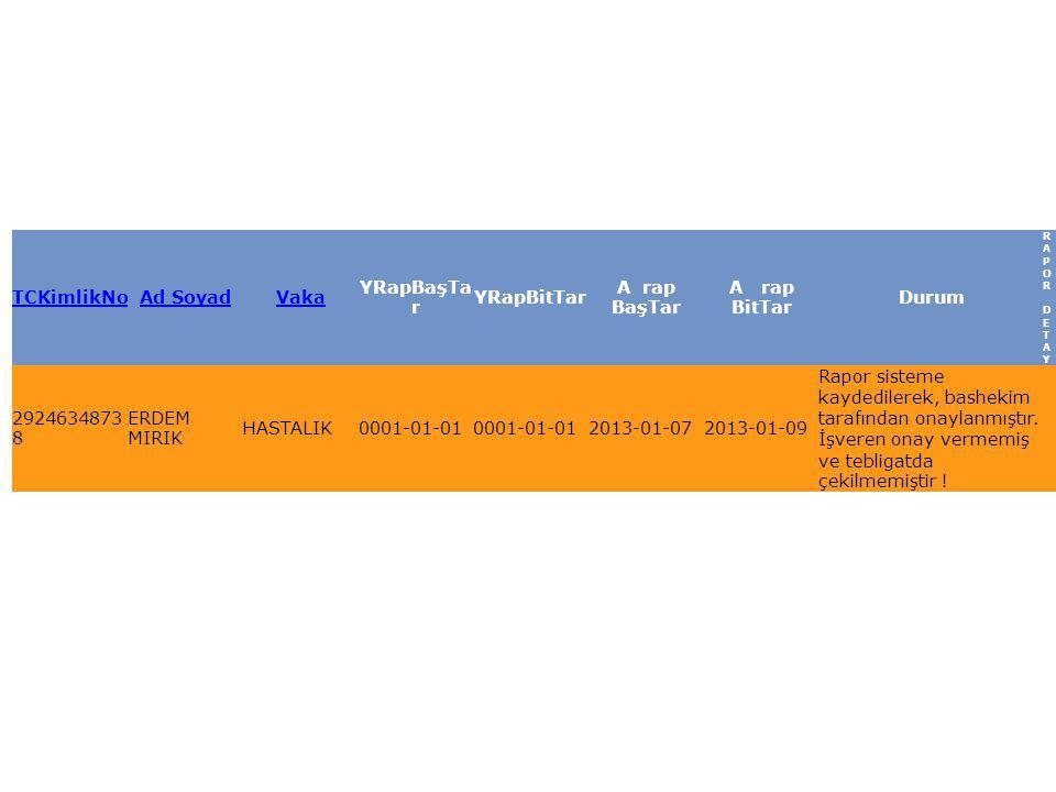 TCKimlikNoAd SoyadVaka YRapBaşTa r YRapBitTar A rap BaşTar A rap BitTar Durum RAPOR DETAYRAPOR DETAY ARSIVE KALDIR 2924634873 8 ERDEM MIRIK HASTALIK0001-01-01 2013-01-072013-01-09 Rapor sisteme kaydedilerek, bashekim tarafından onaylanmıştır.