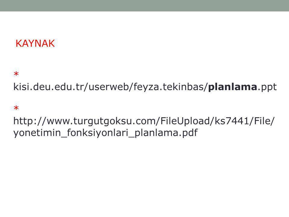 KAYNAK * kisi.deu.edu.tr/userweb/feyza.tekinbas/planlama.ppt * http://www.turgutgoksu.com/FileUpload/ks7441/File/ yonetimin_fonksiyonlari_planlama.pdf