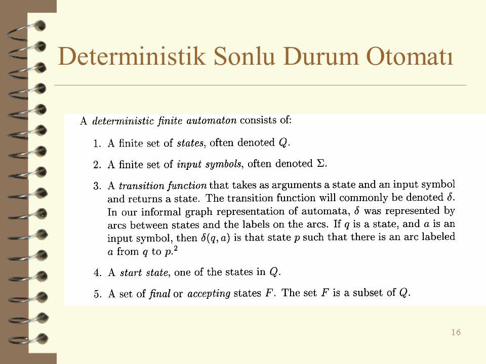 Deterministik Sonlu Durum Otomatı 16
