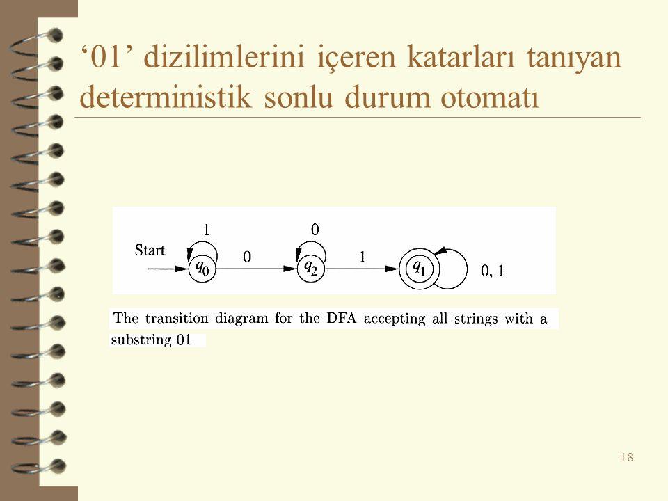 '01' dizilimlerini içeren katarları tanıyan deterministik sonlu durum otomatı 18