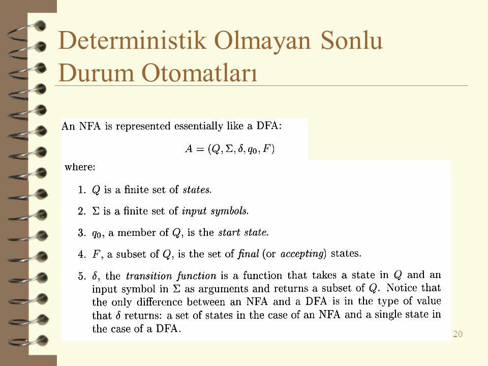 Deterministik Olmayan Sonlu Durum Otomatları 20