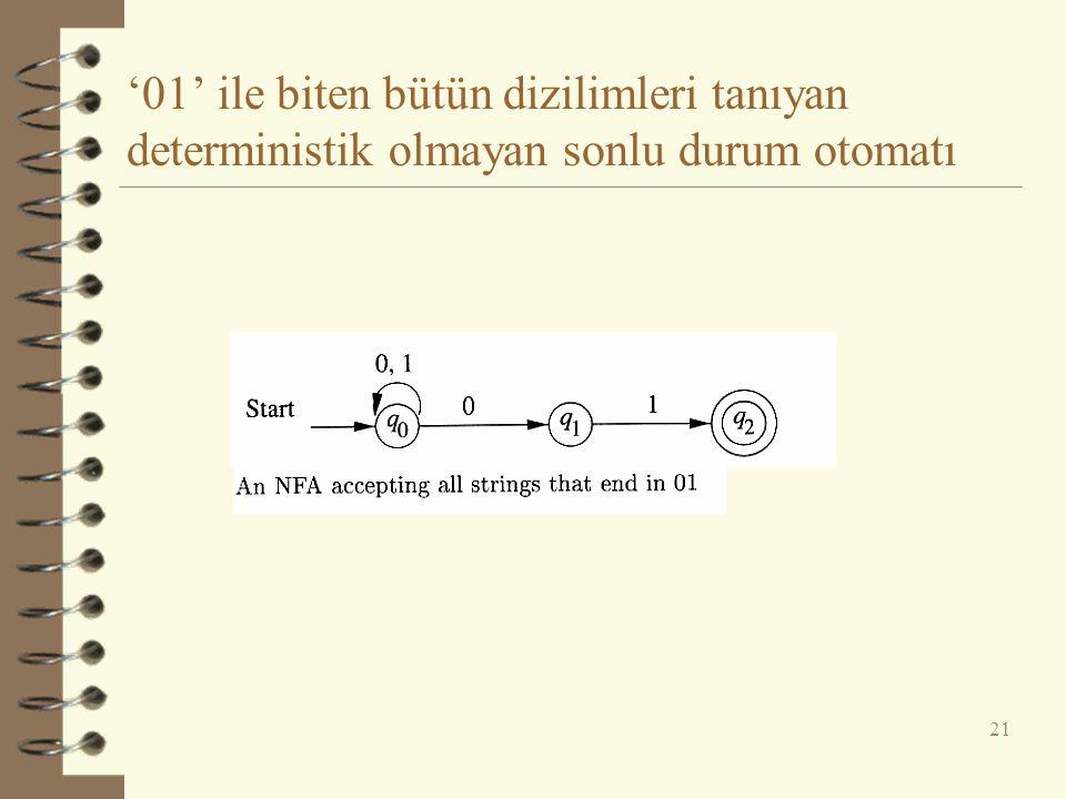 '01' ile biten bütün dizilimleri tanıyan deterministik olmayan sonlu durum otomatı 21