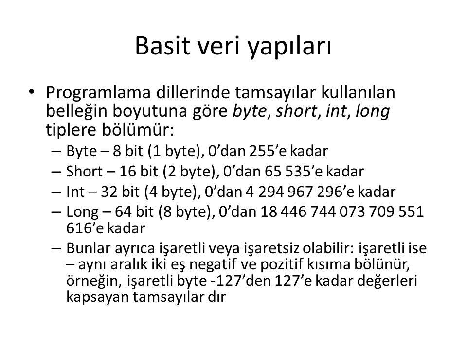 Basit veri yapıları Programlama dillerinde tamsayılar kullanılan belleğin boyutuna göre byte, short, int, long tiplere bölümür: – Byte – 8 bit (1 byte), 0'dan 255'e kadar – Short – 16 bit (2 byte), 0'dan 65 535'e kadar – Int – 32 bit (4 byte), 0'dan 4 294 967 296'e kadar – Long – 64 bit (8 byte), 0'dan 18 446 744 073 709 551 616'e kadar – Bunlar ayrıca işaretli veya işaretsiz olabilir: işaretli ise – aynı aralık iki eş negatif ve pozitif kısıma bölünür, örneğin, işaretli byte -127'den 127'e kadar değerleri kapsayan tamsayılar dır