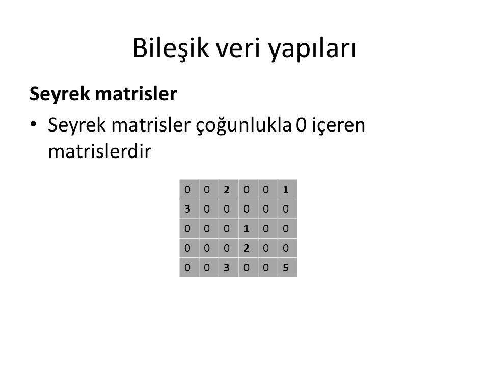 Bileşik veri yapıları Seyrek matrisler Seyrek matrisler çoğunlukla 0 içeren matrislerdir 002001 300000 000100 000200 003005