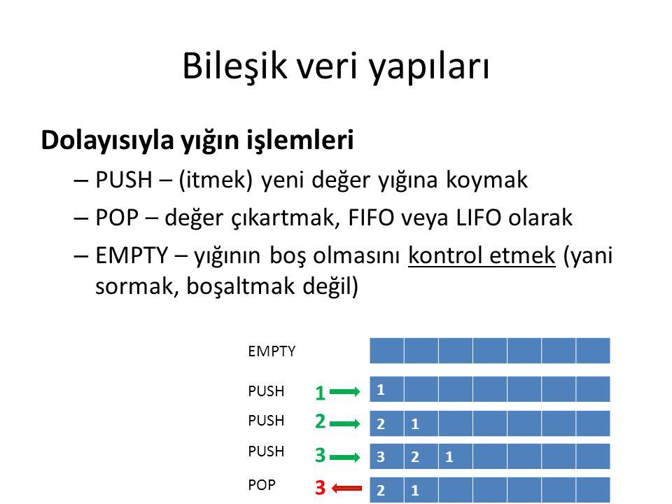 Bileşik veri yapıları Dolayısıyla yığın işlemleri – PUSH – (itmek) yeni değer yığına koymak – POP – değer çıkartmak, FIFO veya LIFO olarak – EMPTY – yığının boş olmasını kontrol etmek (yani sormak, boşaltmak değil) 1 21 321 21 1 2 3 3 PUSH POP EMPTY