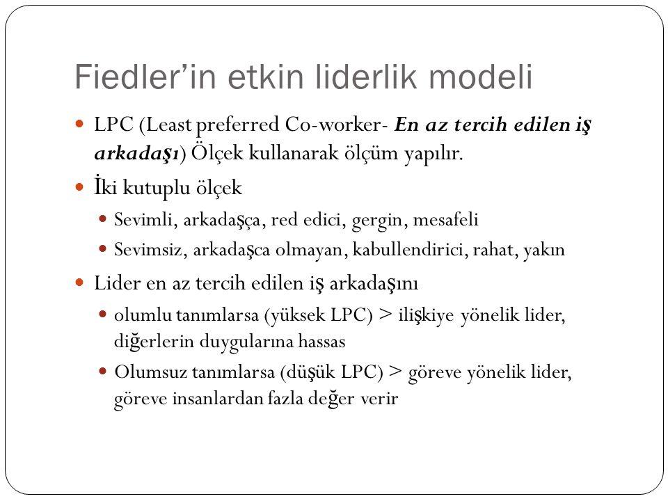 Fiedler'in etkin liderlik modeli LPC (Least preferred Co-worker- En az tercih edilen i ş arkada ş ı) Ölçek kullanarak ölçüm yapılır. İ ki kutuplu ölçe