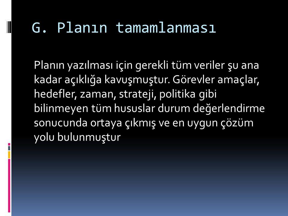 G. Planın tamamlanması Planın yazılması için gerekli tüm veriler şu ana kadar açıklığa kavuşmuştur. Görevler amaçlar, hedefler, zaman, strateji, polit