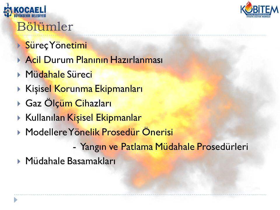 Bölümler  Süreç Yönetimi  Acil Durum Planının Hazırlanması  Müdahale Süreci  Kişisel Korunma Ekipmanları  Gaz Ölçüm Cihazları  Kullanılan Kişisel Ekipmanlar  Modellere Yönelik Prosedür Önerisi - Yangın ve Patlama Müdahale Prosedürleri  Müdahale Basamakları