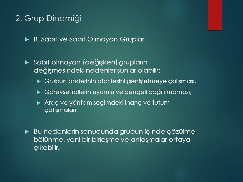 2.Grup Dinamiği  B.