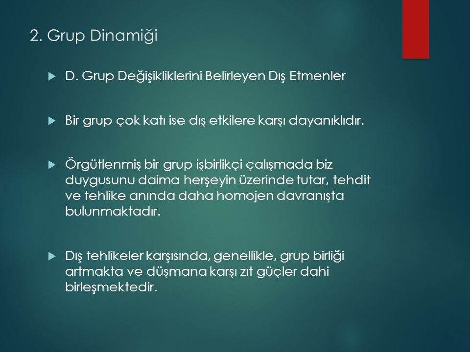 2.Grup Dinamiği  D.