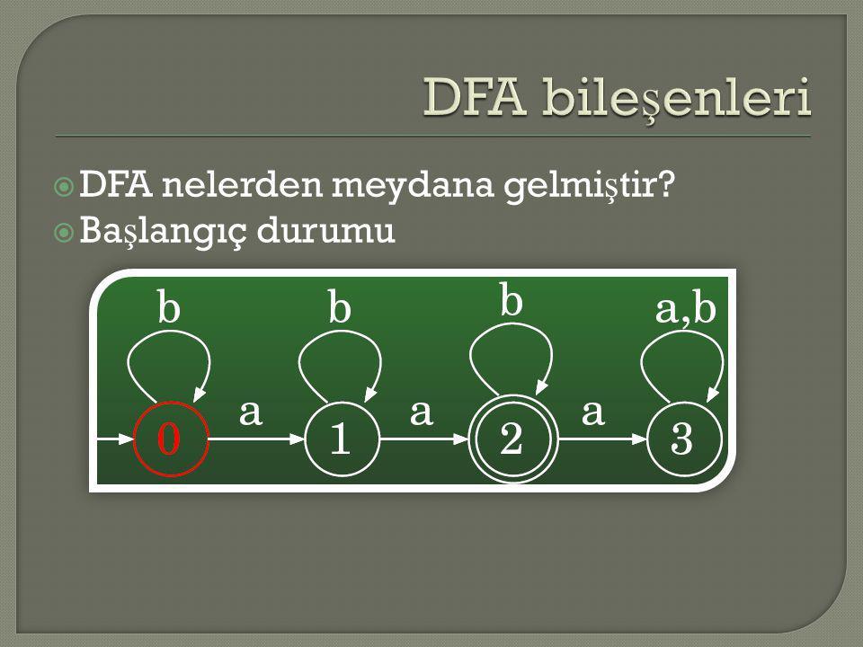  DFA nelerden meydana gelmi ş tir?  Ba ş langıç durumu