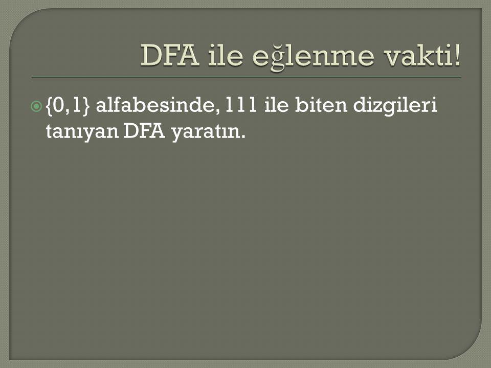 {0,1} alfabesinde, 111 ile biten dizgileri tanıyan DFA yaratın.