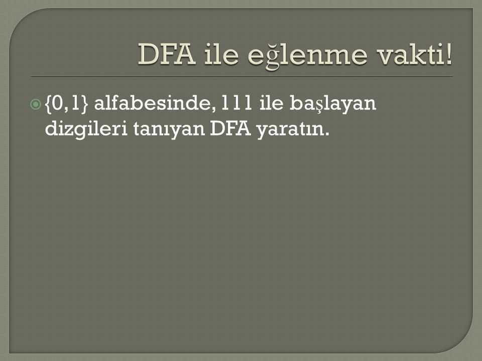  {0,1} alfabesinde, 111 ile ba ş layan dizgileri tanıyan DFA yaratın.