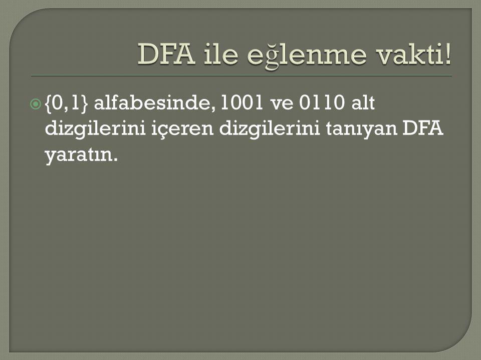 {0,1} alfabesinde, 1001 ve 0110 alt dizgilerini içeren dizgilerini tanıyan DFA yaratın.