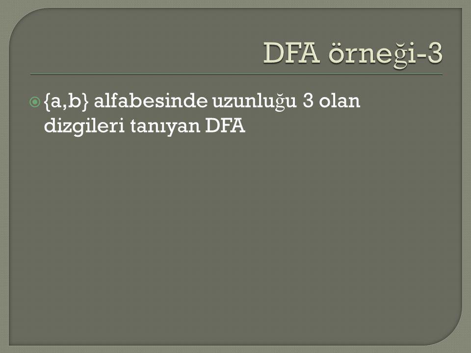  {a,b} alfabesinde uzunlu ğ u 3 olan dizgileri tanıyan DFA