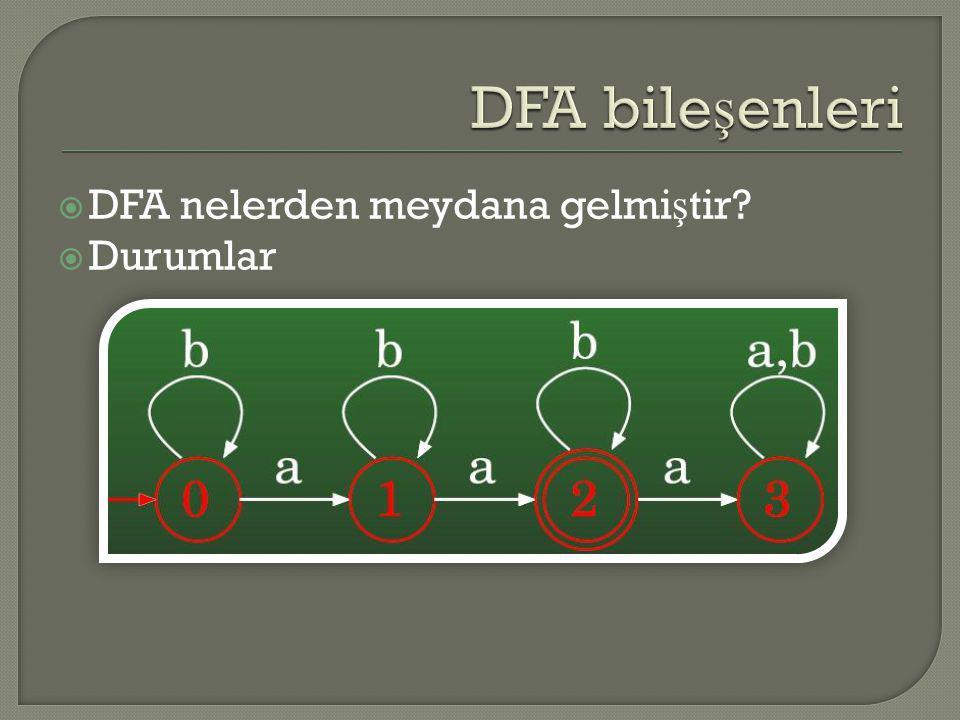  DFA nelerden meydana gelmi ş tir?  Alfabe