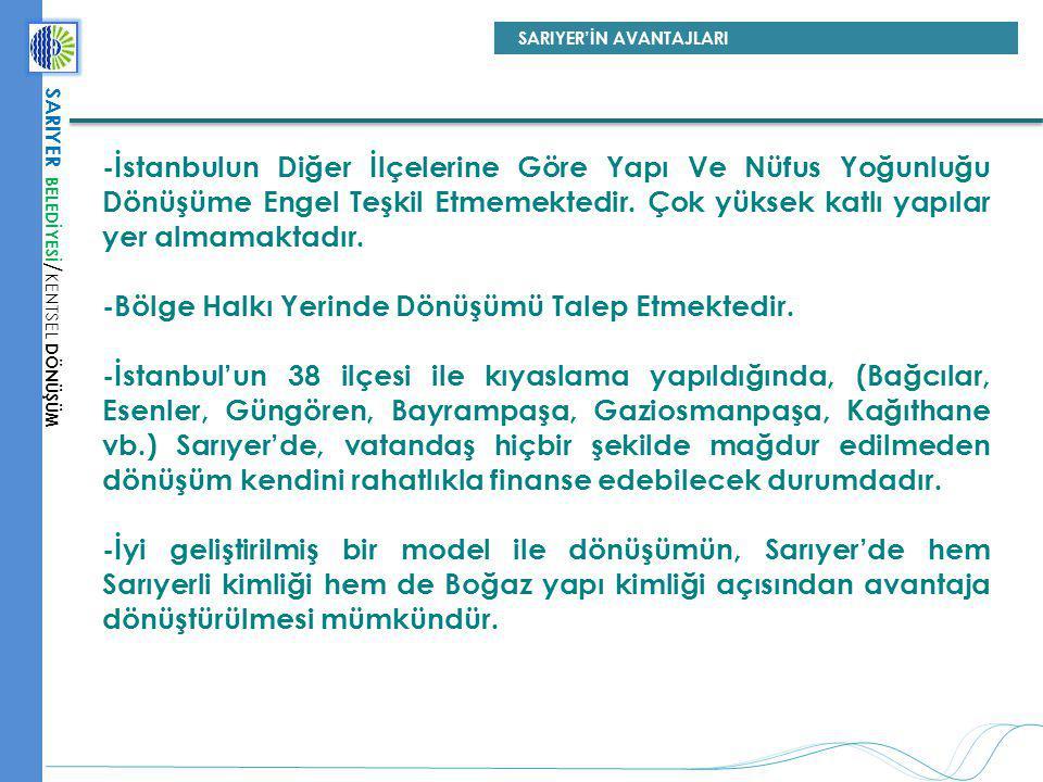 -İstanbulun Diğer İlçelerine Göre Yapı Ve Nüfus Yoğunluğu Dönüşüme Engel Teşkil Etmemektedir. Çok yüksek katlı yapılar yer almamaktadır. -Bölge Halkı