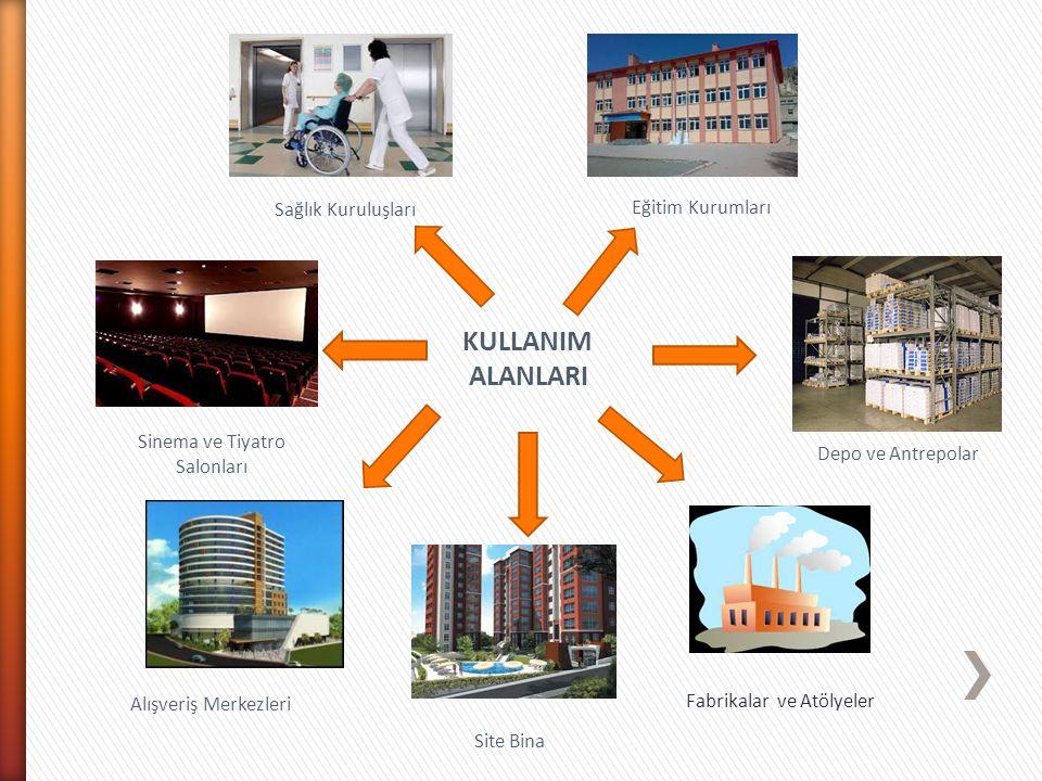 KULLANIM ALANLARI Fabrikalar ve Atölyeler Site Bina Alışveriş Merkezleri Sinema ve Tiyatro Salonları Sağlık Kuruluşları Eğitim Kurumları Depo ve Antre