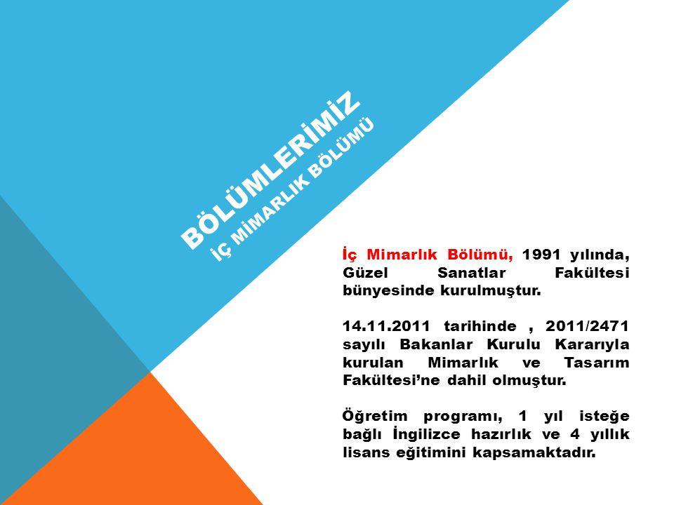BÖLÜMLERİMİZ İç Mimarlık Bölümü, 1991 yılında, Güzel Sanatlar Fakültesi bünyesinde kurulmuştur.