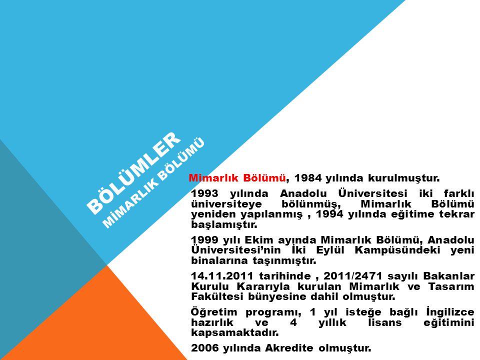 BÖLÜMLER Mimarlık Bölümü, 1984 yılında kurulmuştur.
