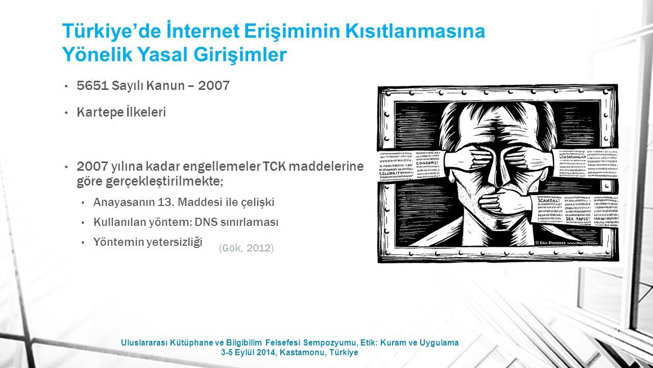 Türkiye'de İnternet Erişiminin Kısıtlanmasına Yönelik Yasal Girişimler 5651 Sayılı Kanun – 2007 Kartepe İlkeleri 2007 yılına kadar engellemeler TCK ma
