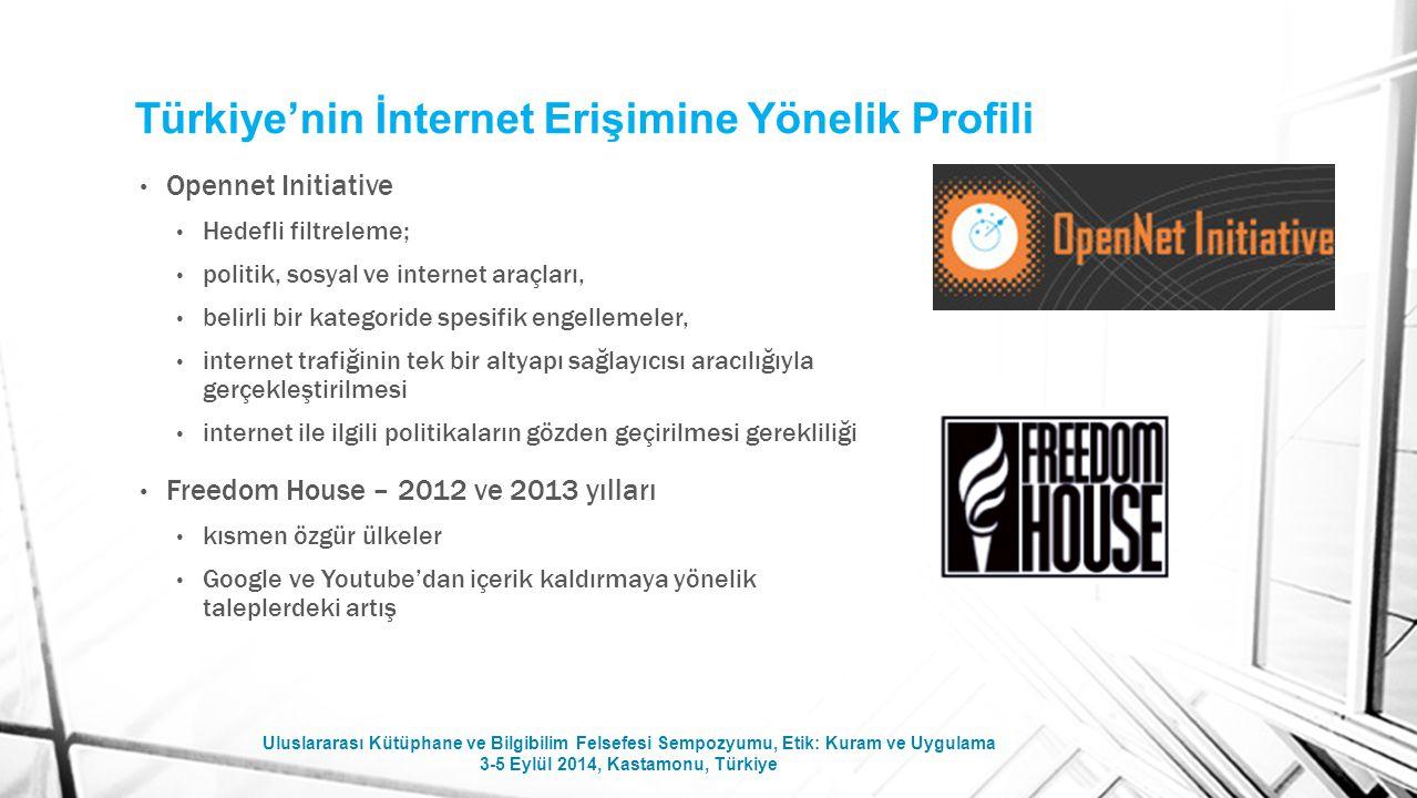 Türkiye'nin İnternet Erişimine Yönelik Profili Opennet Initiative Hedefli filtreleme; politik, sosyal ve internet araçları, belirli bir kategoride spe