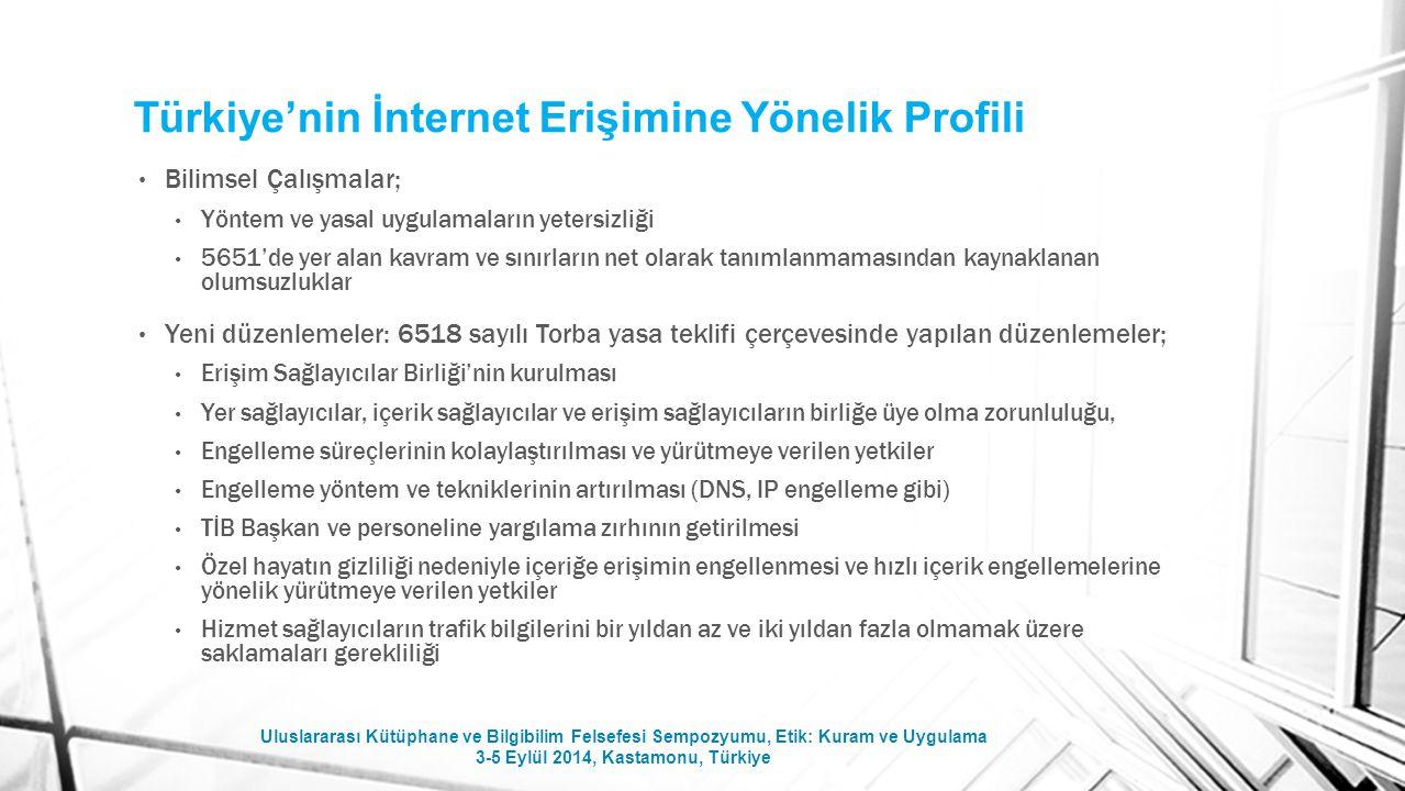 Türkiye'nin İnternet Erişimine Yönelik Profili Bilimsel Çalışmalar; Yöntem ve yasal uygulamaların yetersizliği 5651'de yer alan kavram ve sınırların n