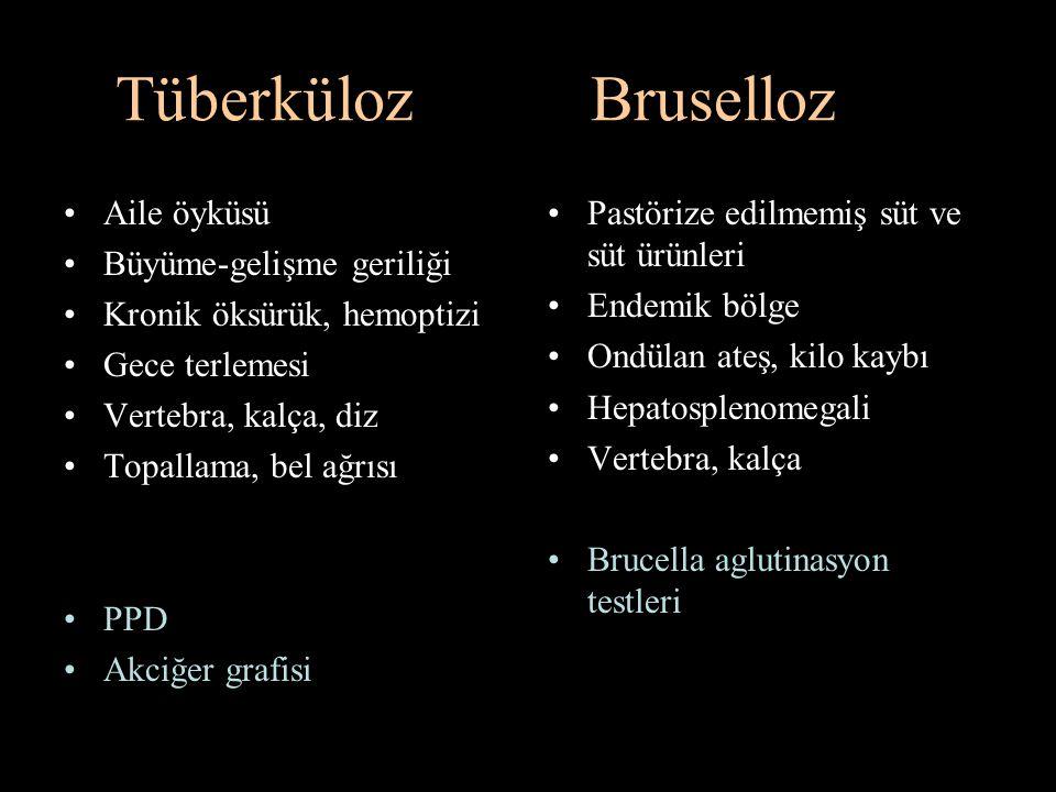 Tüberküloz Bruselloz Aile öyküsü Büyüme-gelişme geriliği Kronik öksürük, hemoptizi Gece terlemesi Vertebra, kalça, diz Topallama, bel ağrısı PPD Akciğ