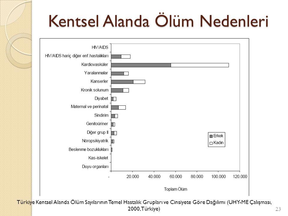 Kentsel Alanda Ölüm Nedenleri 23 Türkiye Kentsel Alanda Ölüm Sayılarının Temel Hastalık Grupları ve Cinsiyete Göre Da ğ ılımı (UHY-ME Çalışması, 2000,