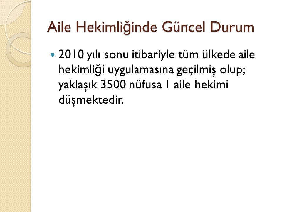 Aile Hekimli ğ inde Güncel Durum Türkiye'de 45 tıp fakültesinde aile hekimli ğ i ana bilim dallarında lisans ve lisans üstü e ğ itim verilmektedir.