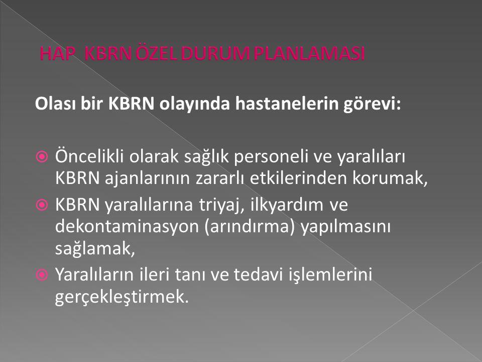 Olası bir KBRN olayında hastanelerin görevi:  Öncelikli olarak sağlık personeli ve yaralıları KBRN ajanlarının zararlı etkilerinden korumak,  KBRN y