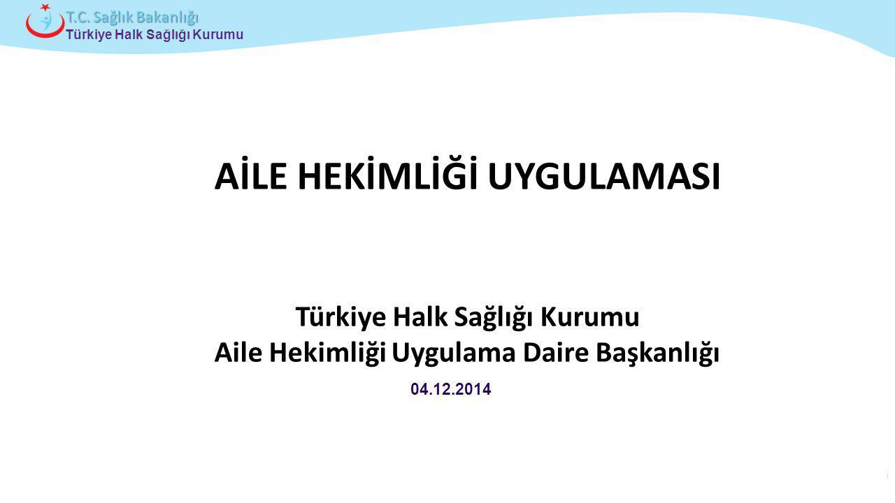 Çocuk ve Ergen Sağlığı Daire Başkanlığı Türkiye Halk Sağlığı Kurumu T.C. Sağlık Bakanlığı 04.12.2014 AİLE HEKİMLİĞİ UYGULAMASI Türkiye Halk Sağlığı Ku