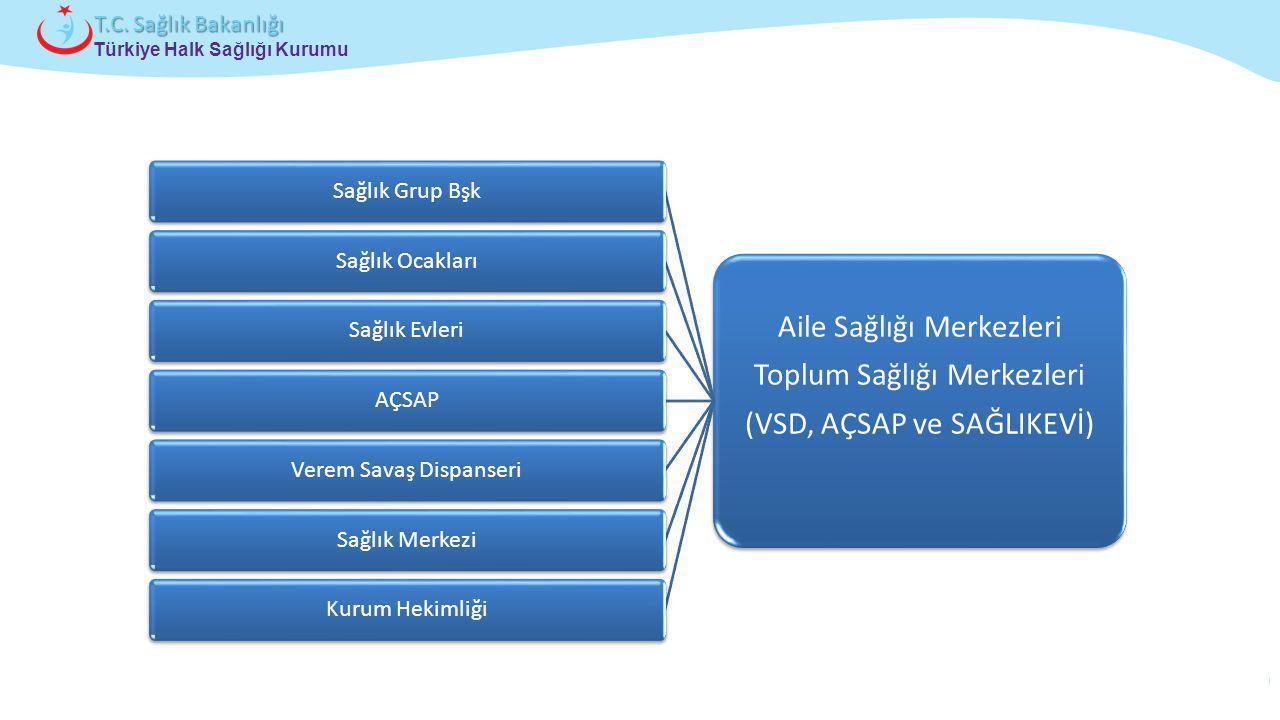Çocuk ve Ergen Sağlığı Daire Başkanlığı Türkiye Halk Sağlığı Kurumu T.C. Sağlık Bakanlığı Aile Sağlığı Merkezleri Toplum Sağlığı Merkezleri (VSD, AÇSA