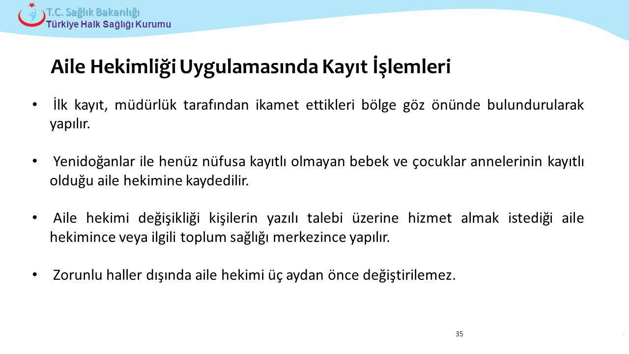 Çocuk ve Ergen Sağlığı Daire Başkanlığı Türkiye Halk Sağlığı Kurumu T.C. Sağlık Bakanlığı 35 İlk kayıt, müdürlük tarafından ikamet ettikleri bölge göz