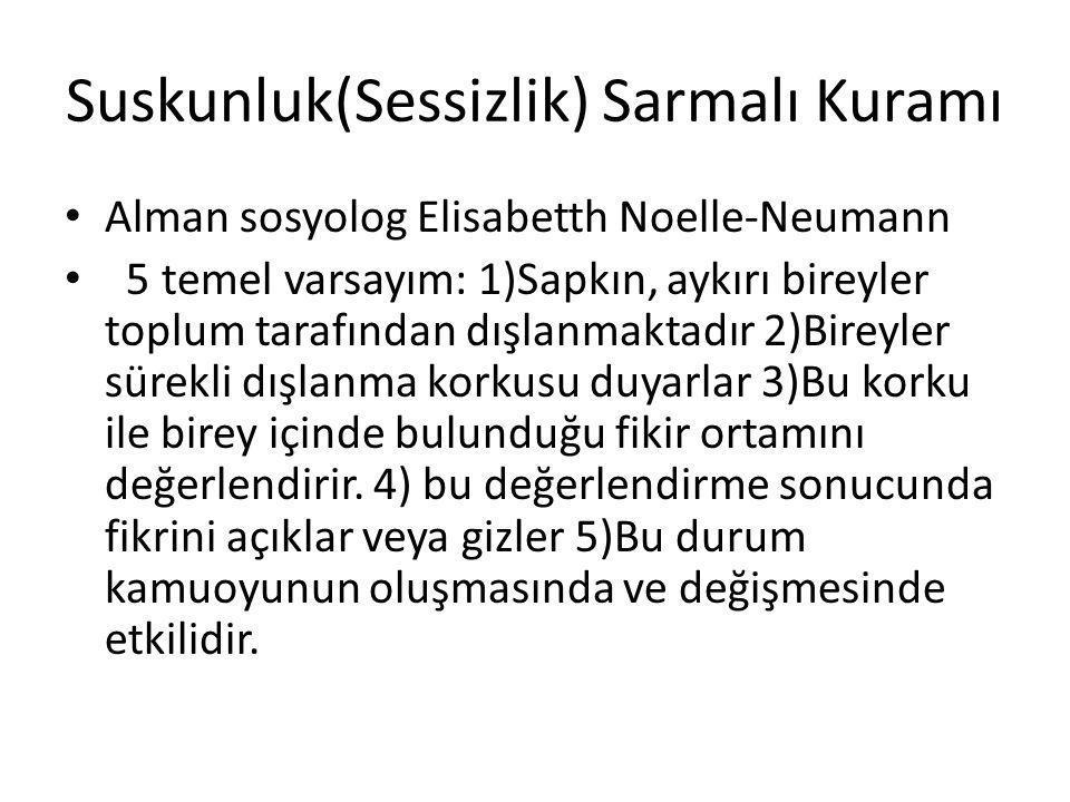 Suskunluk(Sessizlik) Sarmalı Kuramı Alman sosyolog Elisabetth Noelle-Neumann 5 temel varsayım: 1)Sapkın, aykırı bireyler toplum tarafından dışlanmakta