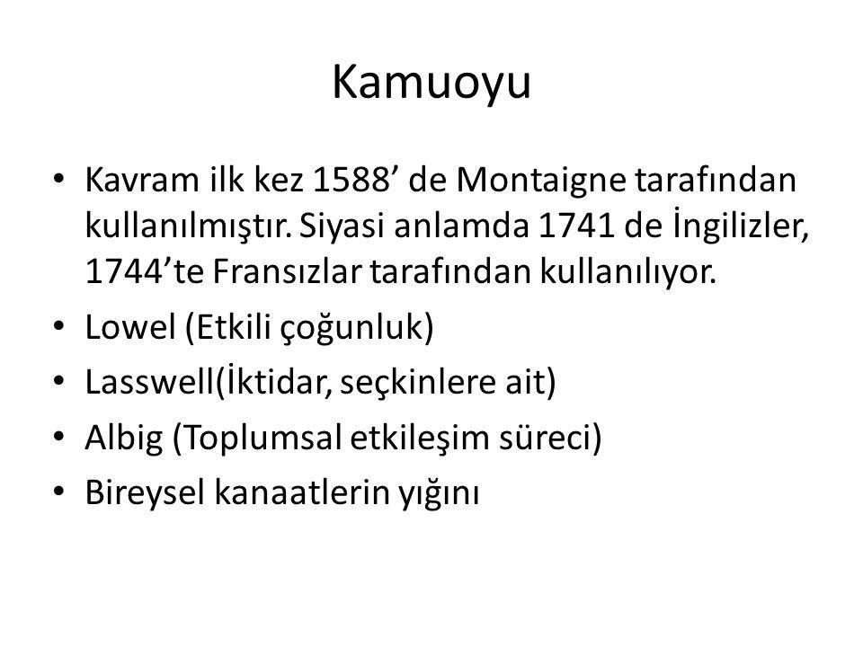 Kamuoyu Kavram ilk kez 1588' de Montaigne tarafından kullanılmıştır. Siyasi anlamda 1741 de İngilizler, 1744'te Fransızlar tarafından kullanılıyor. Lo
