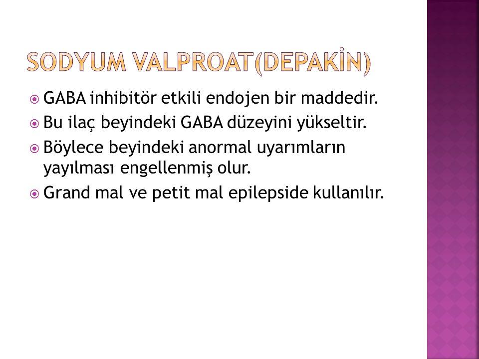  GABA inhibitör etkili endojen bir maddedir.  Bu ilaç beyindeki GABA düzeyini yükseltir.  Böylece beyindeki anormal uyarımların yayılması engellenm