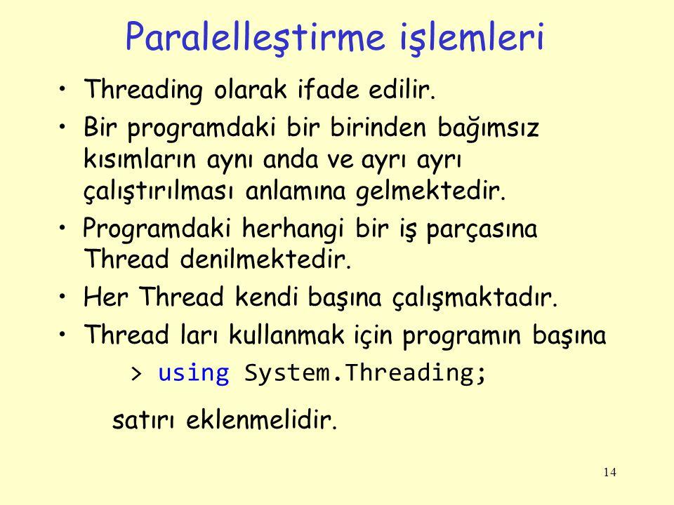 Paralelleştirme işlemleri Threading olarak ifade edilir.