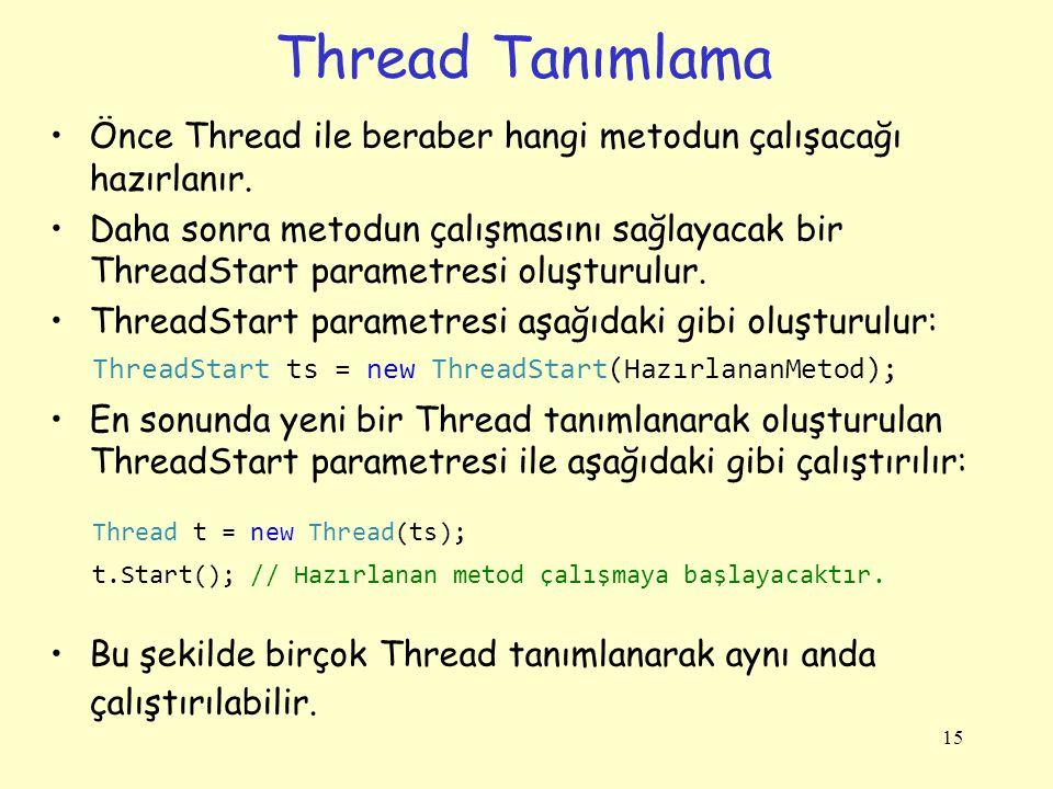 Thread Tanımlama Önce Thread ile beraber hangi metodun çalışacağı hazırlanır.
