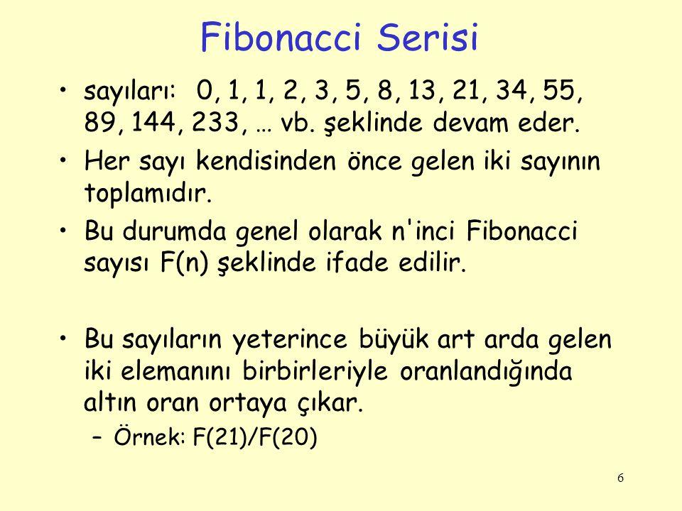 Örnek Recursive: Fibonacci Serisi Tanım: F n = F n-1 + F n-2 –Dizinin ilk sayı değeri 0, ikincisi 1 ve her ardışık elemanı da önceki iki elemanın değerinin toplamı alınarak bulunur.