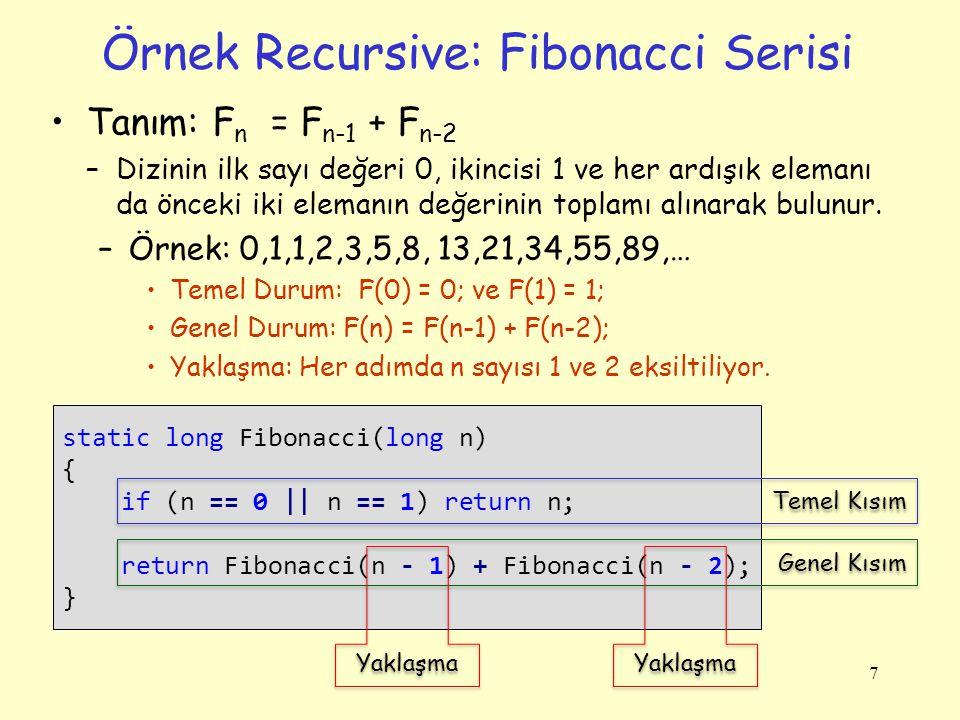 Örnek Recursive: Üslü Sayı Hesabı Tanım: a n = a * a * … * a –Örnek: 3 5 = 3 * 3 *3 *3 * 3 Temel Durum: n = 0 ise sonuç 1 ( a 0 = 1) Genel Durum: a n = a * ( a n-1 ) Yakınlaşma: Her adımda n bir azaltılıyor.