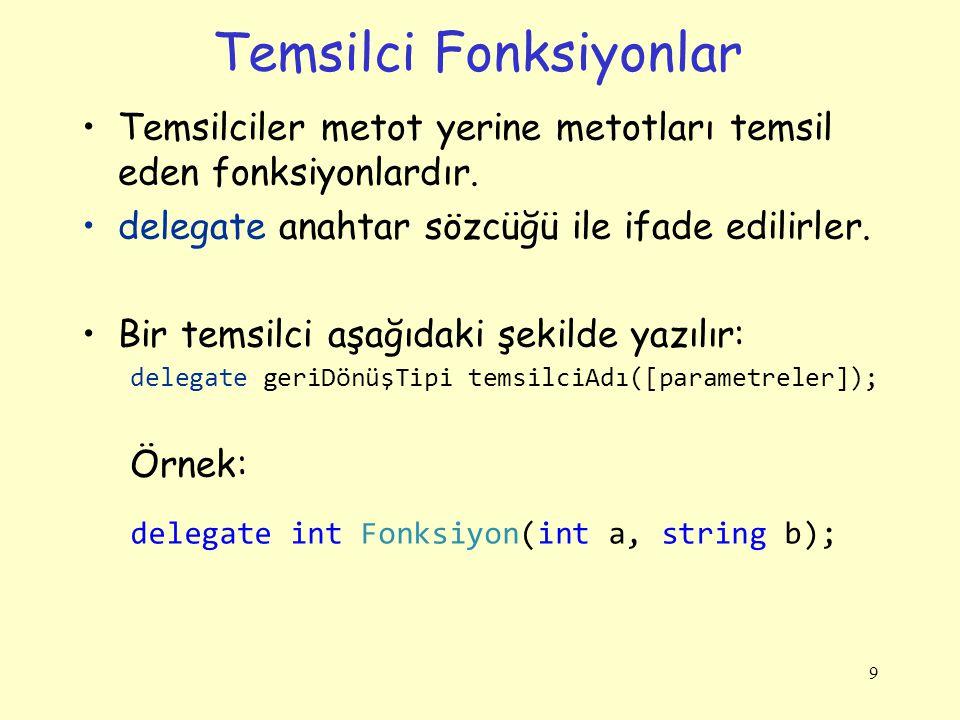 Temsilci fonksiyonların Tanımlanması Temsilciler genellikle programlarımıza belirli bir ifadeyle birden fazla metodu çağırabilme yeteneği vermek için kullanılır.