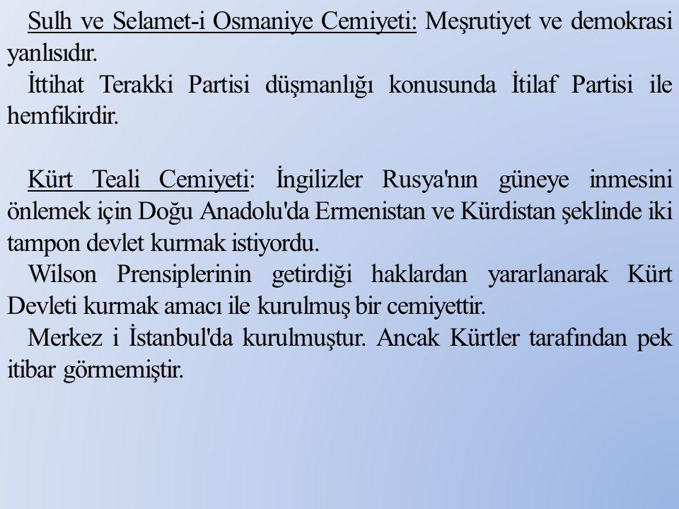 Sulh ve Selamet-i Osmaniye Cemiyeti: Meşrutiyet ve demokrasi yanlısıdır. İttihat Terakki Partisi düşmanlığı konusunda İtilaf Partisi ile hemfikirdir.