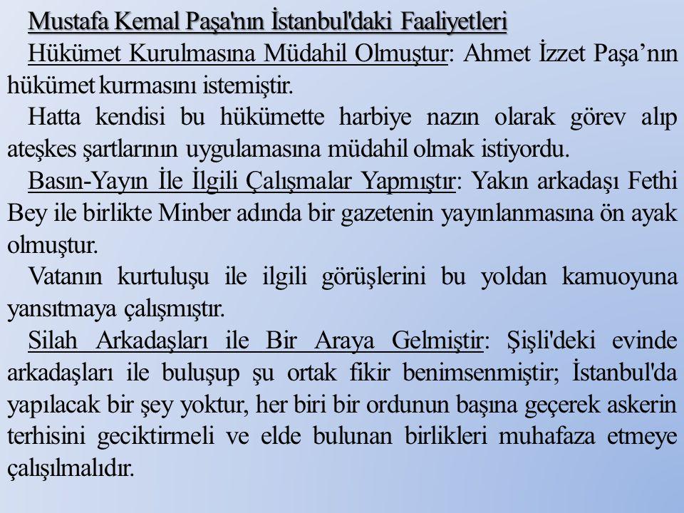 Mustafa Kemal Paşa'nın İstanbul'daki Faaliyetleri Hükümet Kurulmasına Müdahil Olmuştur: Ahmet İzzet Paşa'nın hükümet kurmasını istemiştir. Hatta kendi