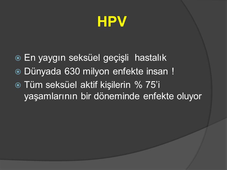 HPV  En yaygın seksüel geçişli hastalık  Dünyada 630 milyon enfekte insan !  Tüm seksüel aktif kişilerin % 75'i yaşamlarının bir döneminde enfekte