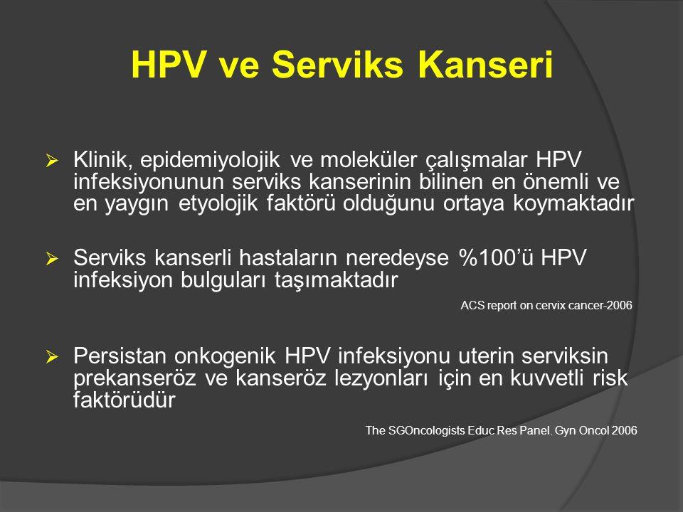 HPV ve Serviks Kanseri  Klinik, epidemiyolojik ve moleküler çalışmalar HPV infeksiyonunun serviks kanserinin bilinen en önemli ve en yaygın etyolojik