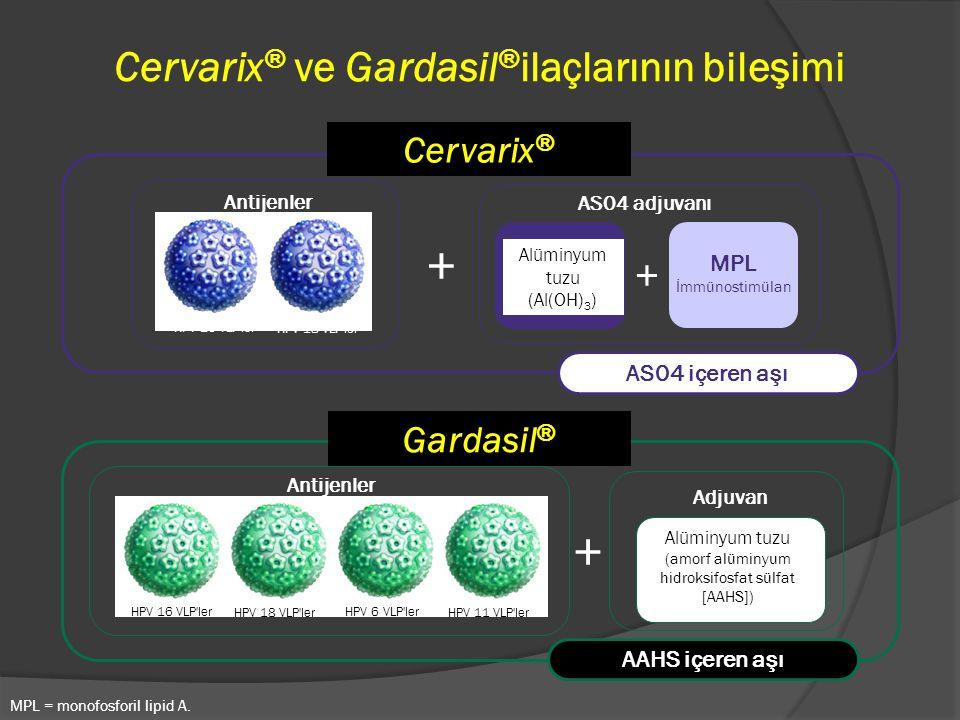 + Alüminyum tuzu (amorf alüminyum hidroksifosfat sülfat [AAHS]) HPV 16 VLP'ler HPV 18 VLP'ler HPV 6 VLP'ler HPV 11 VLP'ler Antijenler Cervarix ® ve Ga