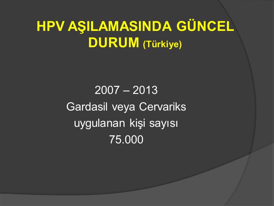 HPV AŞILAMASINDA GÜNCEL DURUM (Türkiye) 2007 – 2013 Gardasil veya Cervariks uygulanan kişi sayısı 75.000